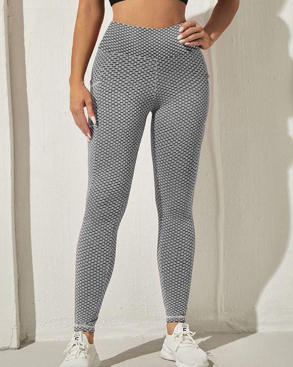Honeycomb Textuerd Pocket Side Sports Leggings gallery 26