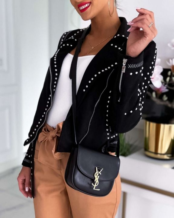 Solid Studded Zip Front Pocket Detail Moto Jacket gallery 2