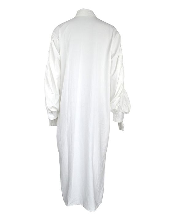 Solid Button Through Ruched Split Hem Midi Shirt Dress gallery 6