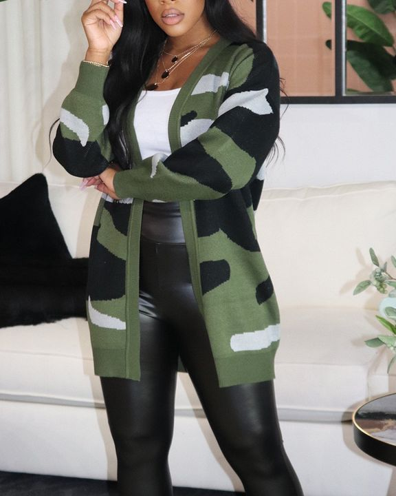 Camo Rib-Knit Open Front Cardigan gallery 2