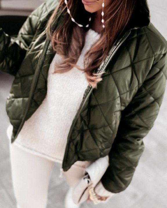 Argyle Quilted Zip Up Elastic Hem Hooded Jacket gallery 1