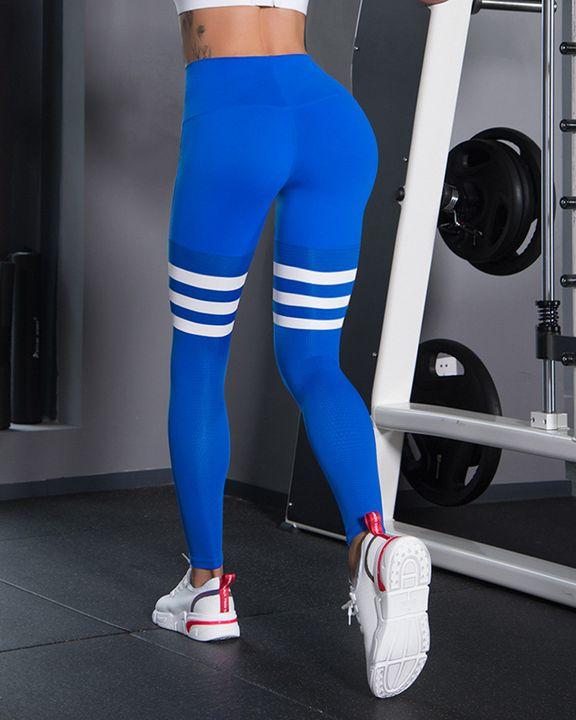 Stripe Colorblock High Waist Sports Leggings gallery 1