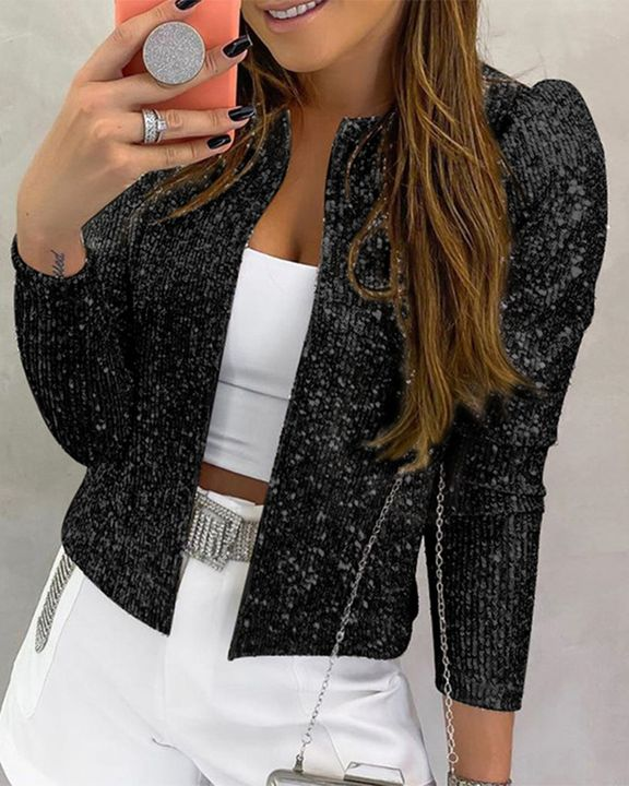 Solid Sequin Decor Open Front Jacket gallery 2