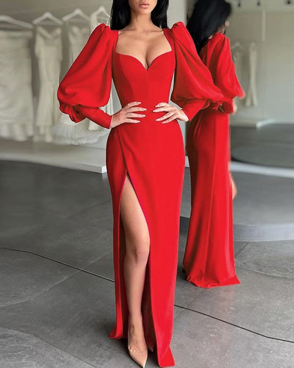 Solid Split Thigh Puff Sleeve Sweetheart Maxi Dress gallery 4