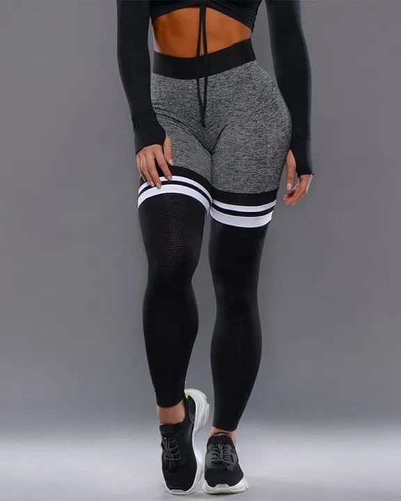 Colorblock Stripe High Waist Sports Leggings gallery 3