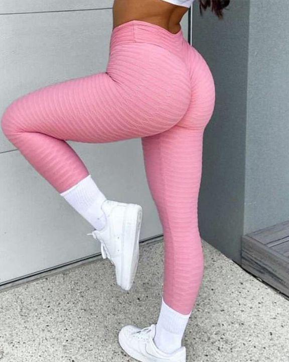 High Waist Textured Butt Lifting Sports Leggins gallery 1