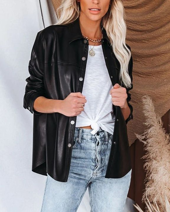PU Leather Button Up Jacket gallery 2