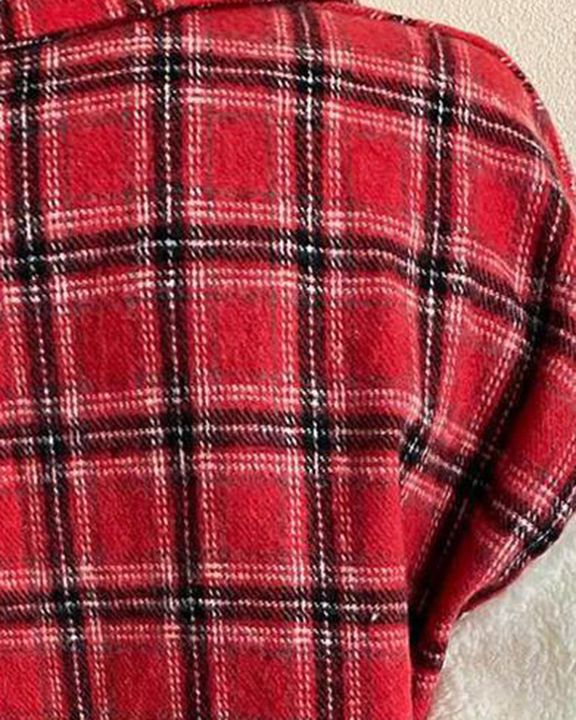 Plaid Print Button Front Flap Pocket Teddy Coat gallery 4