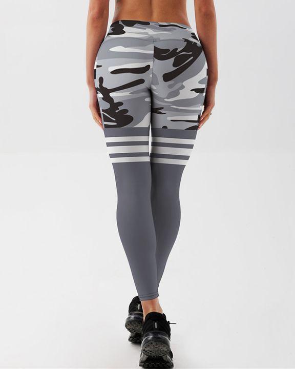 Camo Stripe Print High Waist Sports Leggings gallery 4