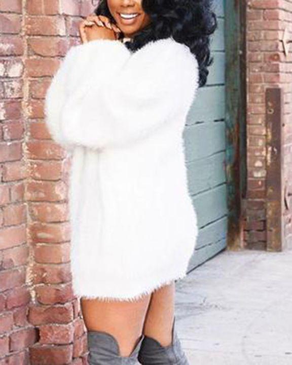 Solid Fuzzy Round Neck Mini Sweater Dress gallery 3