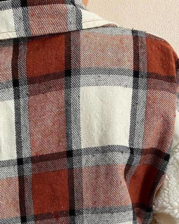 Plaid Print Button Front Flap Pocket Teddy Coat gallery 5