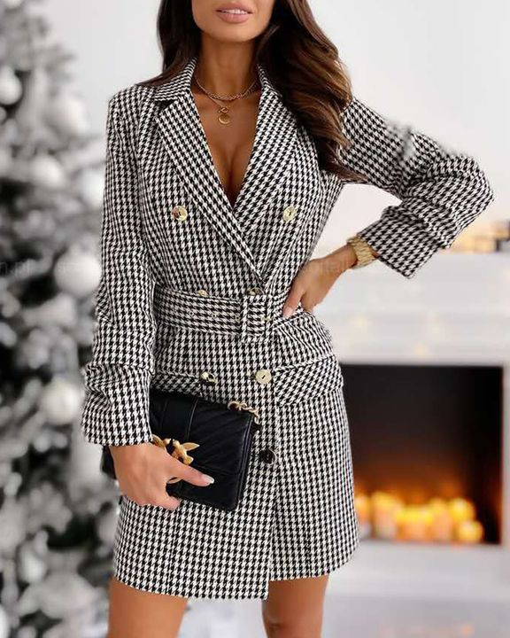 Plaid Print Buckle Belt Flap Pocket Double Breasted Coat gallery 2