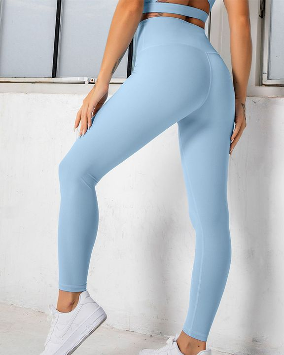 Solid High Waist Butt Lifting Cropped Sports Leggings gallery 10