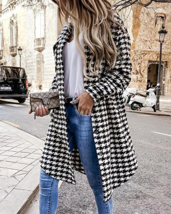 Houndstooth Pattern Button Up Curved Hem Coat gallery 3
