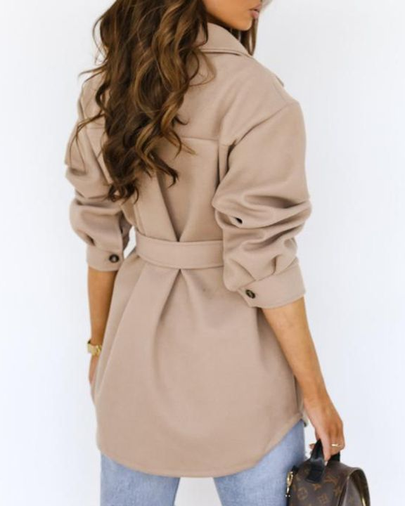 Solid Button Up Belted Flat Pocket Coat gallery 7