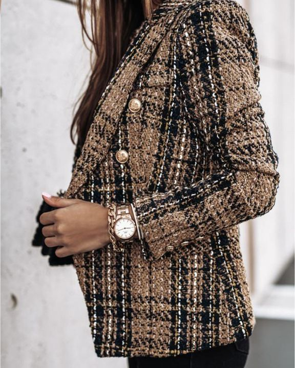 Plaid Print Double Breasted Lapel Neck Blazer gallery 9
