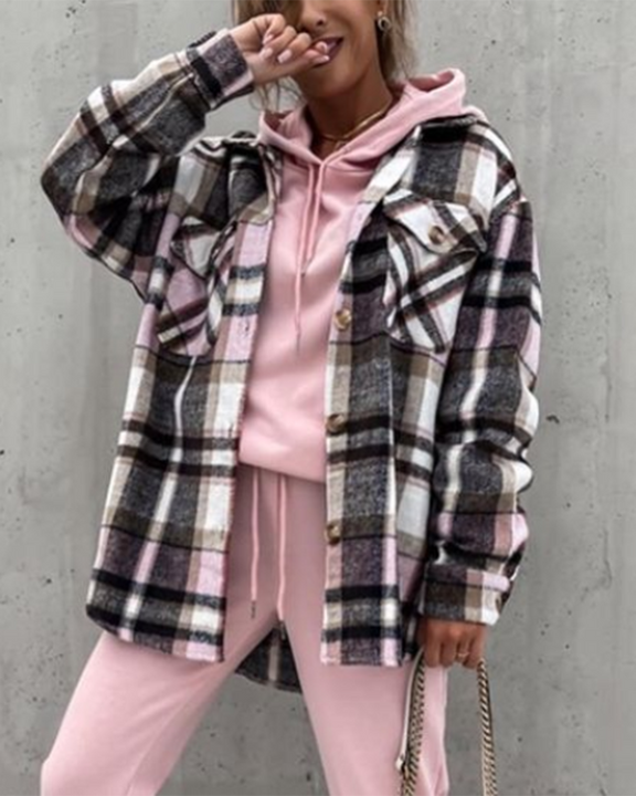 Plaid Button Up Flap Pocket Front Coat gallery 1