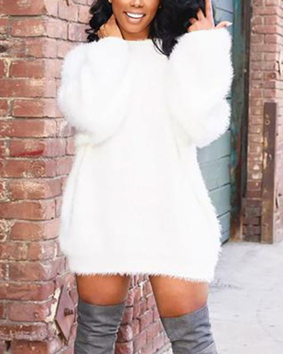 Solid Fuzzy Round Neck Mini Sweater Dress gallery 1