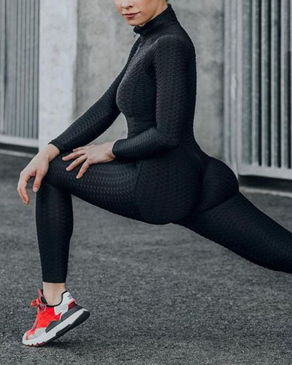Solid Textured Ruched Zip Up Long Sleeve Sports Jumpsuit gallery 2