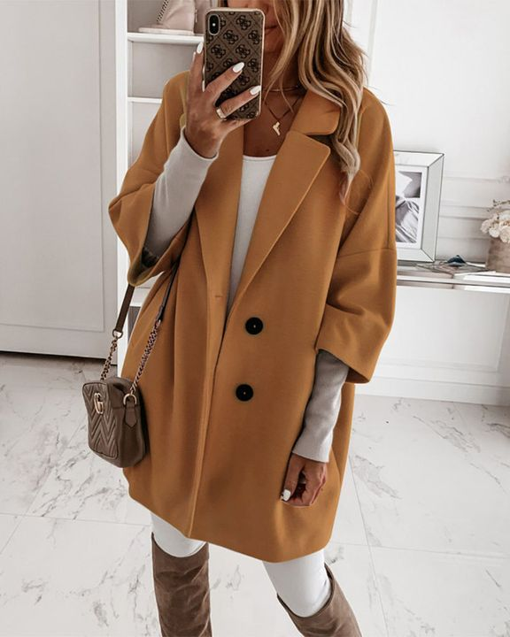 Double Breasted Pocket Detail Lapel Neck Coat gallery 1
