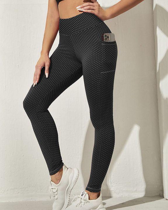Honeycomb Textuerd Pocket Side Sports Leggings gallery 16