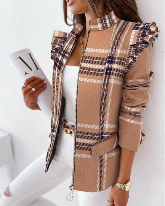 Zip Up Ruffle Trim Stand Collar Jacket gallery 3