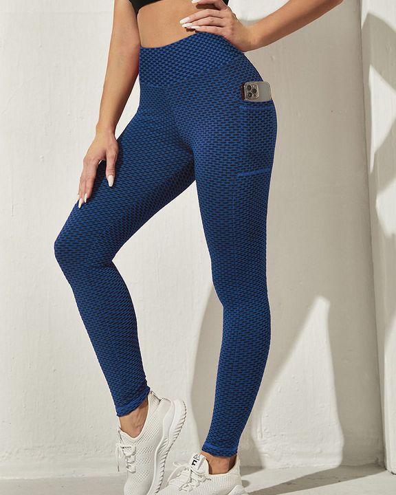 Honeycomb Textuerd Pocket Side Sports Leggings gallery 12