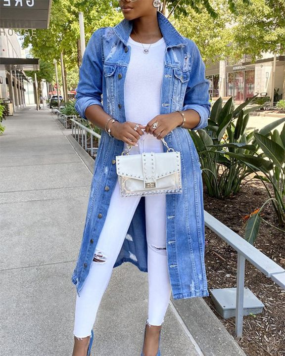 Ripped Button Up Flap Pocket Longline Denim Coat gallery 1