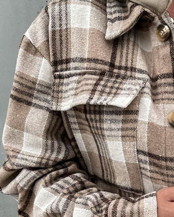 Plaid Print Button Up Pocket Detail Hooded Coat gallery 3