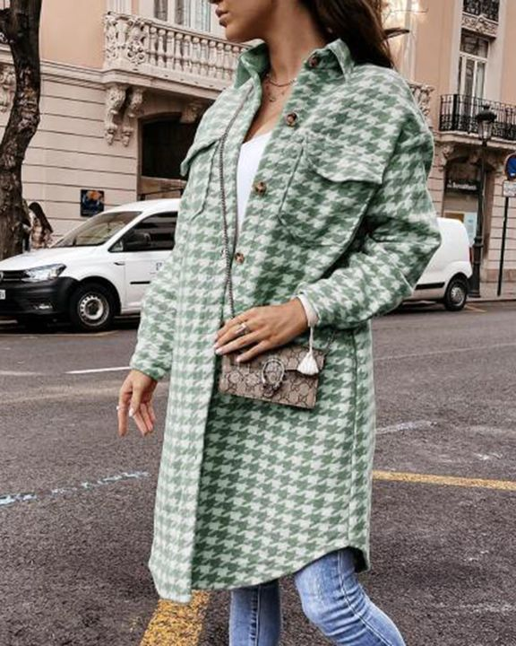 Houndstooth Pattern Button Up Curved Hem Coat gallery 5