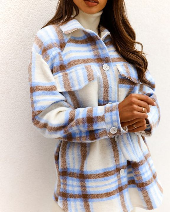 Plaid Button Up Self Belted Flap Pocket Coat gallery 8