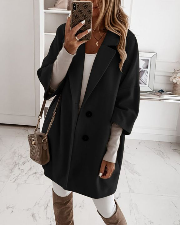 Double Breasted Pocket Detail Lapel Neck Coat gallery 2