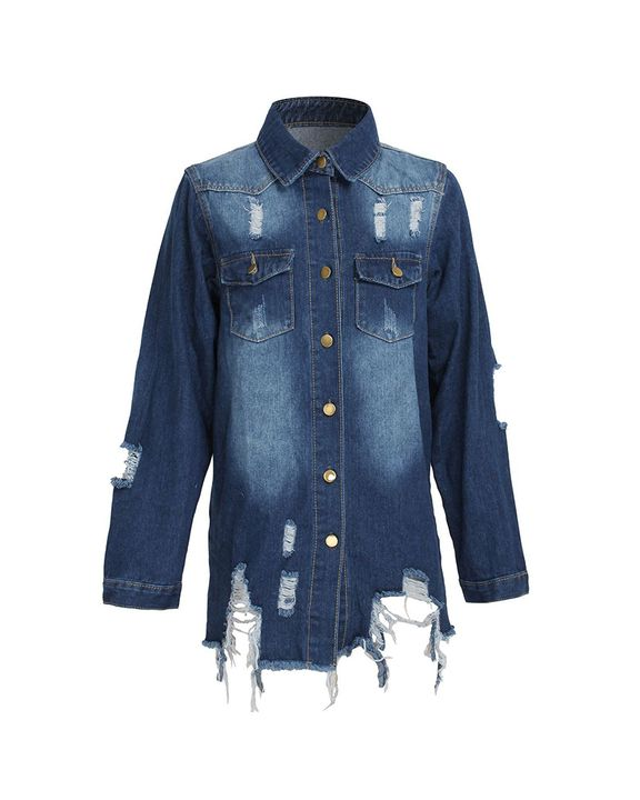 Ripped Flap Pocket Button Up Raw Hem Denim Coat gallery 6