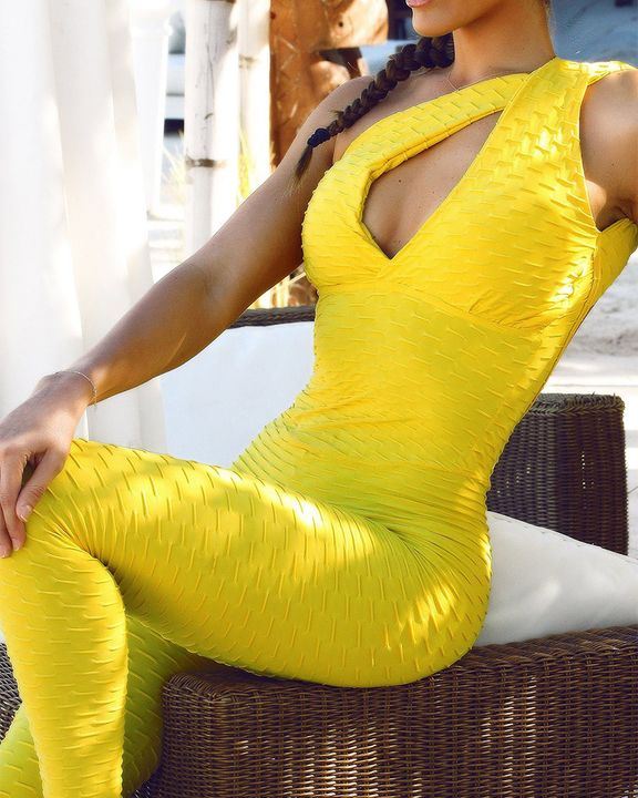 Textured Criss Cross Cut Out Sports Jumpsuit gallery 4