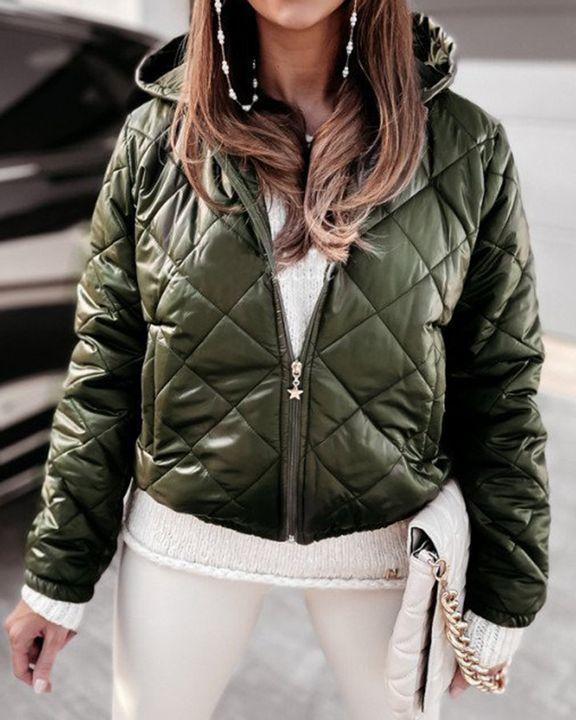 Argyle Quilted Zip Up Elastic Hem Hooded Jacket gallery 3