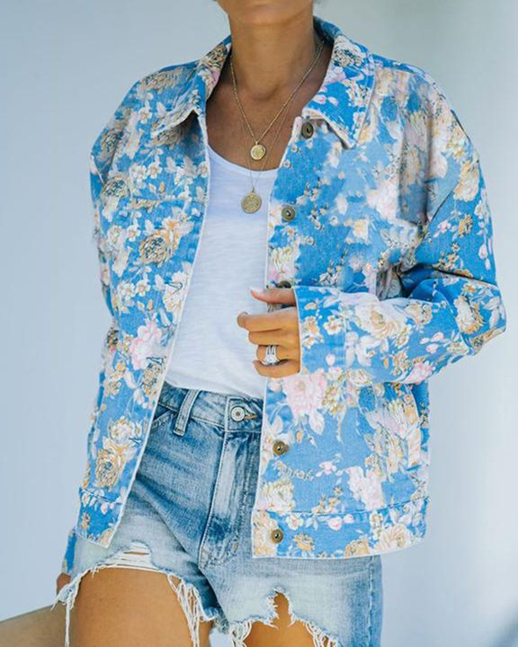 Floral Print Button Up Pocket Detail Jacket gallery 1