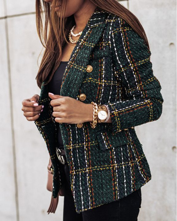 Plaid Print Double Breasted Lapel Neck Blazer gallery 11