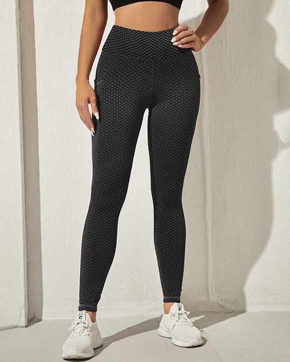 Honeycomb Textuerd Pocket Side Sports Leggings gallery 15
