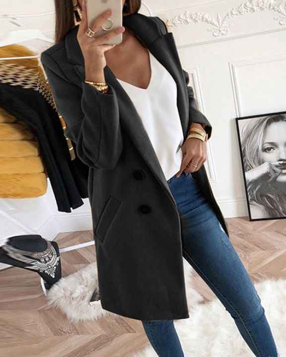 Button Front Pocket Detail Coat gallery 2
