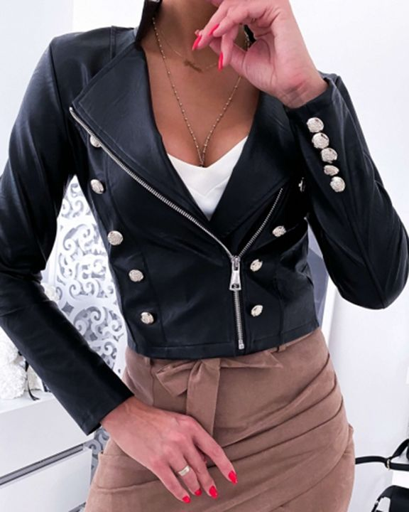 PU Leather Button Detail Zip Front Moto Jacket gallery 1