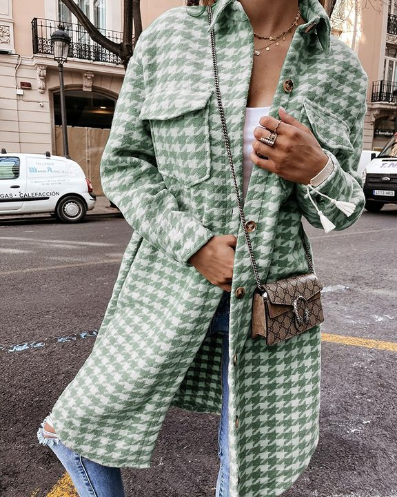 Houndstooth Pattern Button Up Curved Hem Coat gallery 1