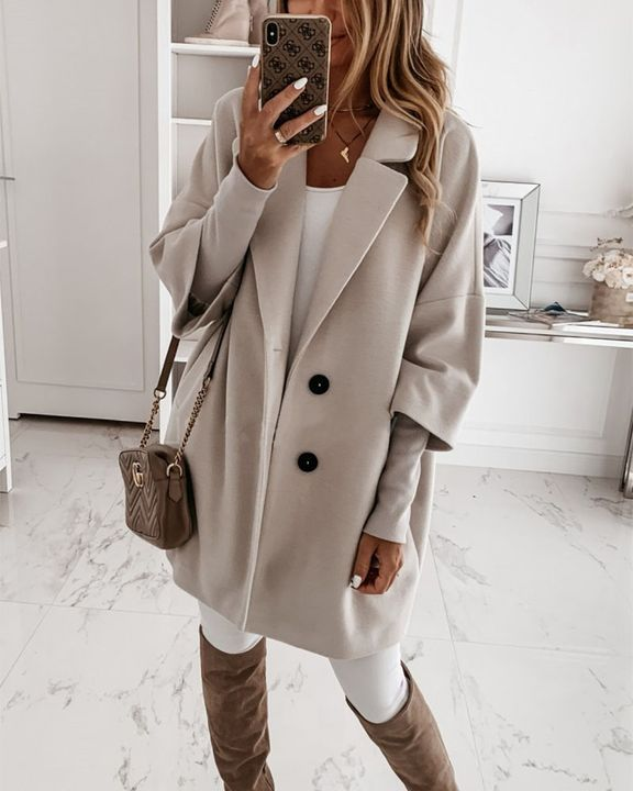 Double Breasted Pocket Detail Lapel Neck Coat gallery 3