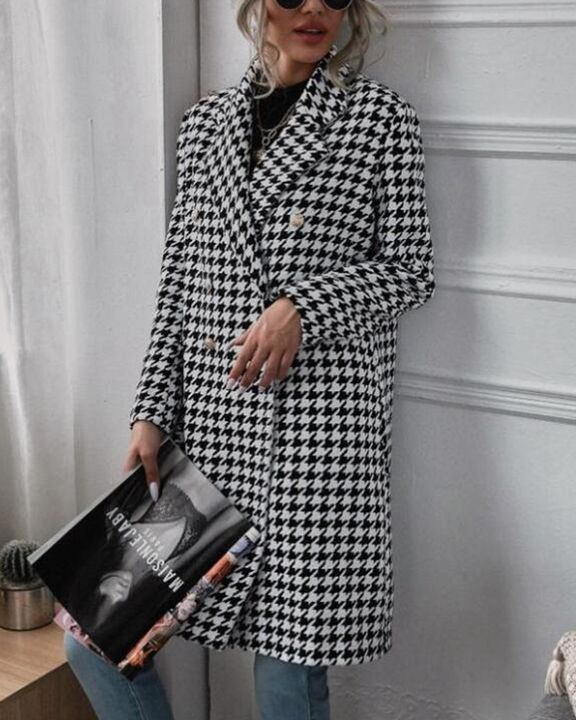 Houndstooth Print Double Breasted Lapel Neck Coat gallery 3