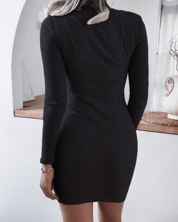 Solid Rib-Knit Cut Out Lace Up High Neck Mini Dress gallery 6