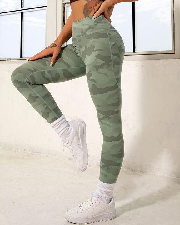 Camo Print Pocket Back Butt Lifting Sports Leggings gallery 2