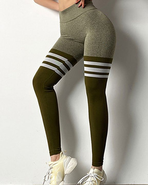 Seamless Stripe Colorblock Sports Leggings gallery 7