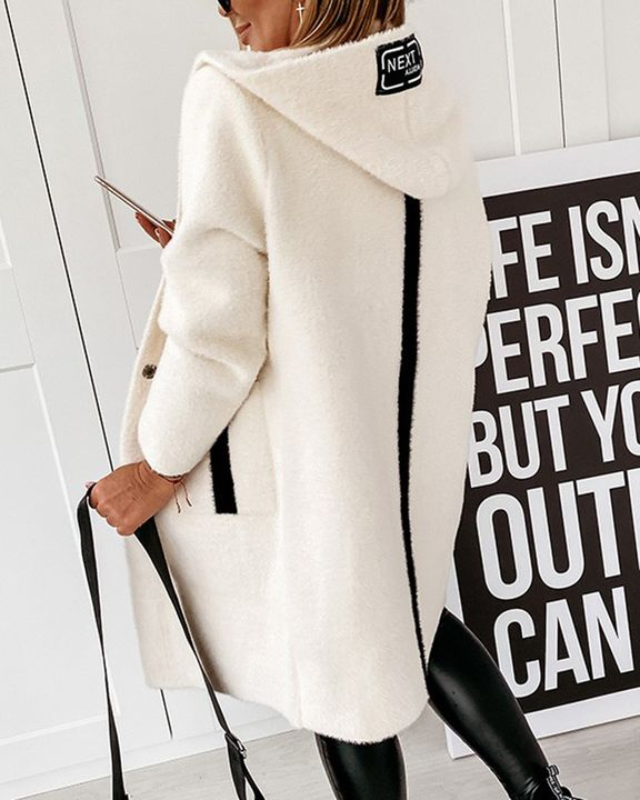 Colorblock Button Up Patch Pocket Teddy Coat gallery 3