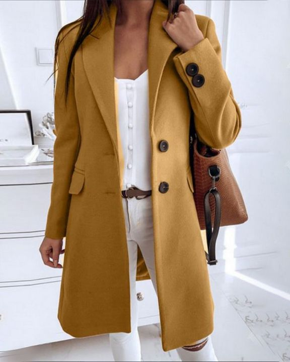Double Breasted Pocket Detail Lapel Neck Knee Length Coat gallery 1