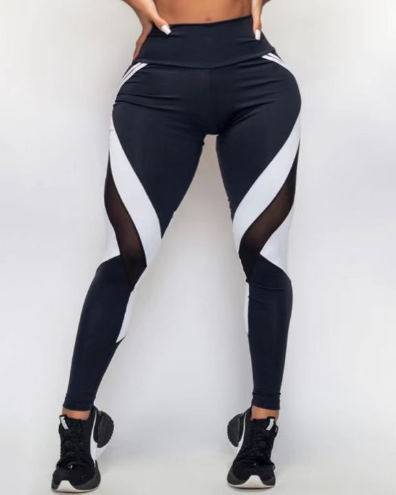 Two Tone Mesh Insert Wide Waistband Sports Leggings gallery 5