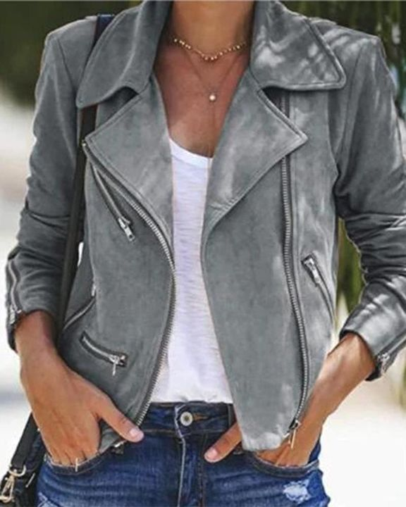Lapel Neck Zip Up Form Fitting Jacket gallery 3